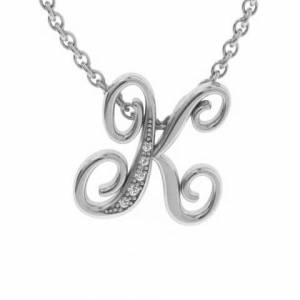 SuperJeweler K Initial Necklace in White Gold (2.2 g) w/ 5 Diamonds, , 18 Inch Chain by SuperJeweler
