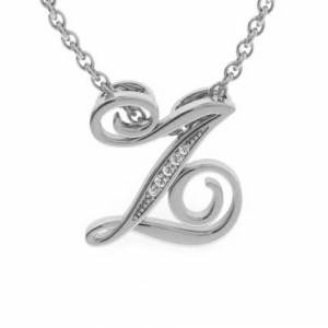 SuperJeweler Z Initial Necklace in White Gold (2.2 g) w/ 5 Diamonds, , 18 Inch Chain by SuperJeweler