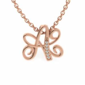 SuperJeweler A Initial Necklace in Rose Gold (2.2 g) w/ 6 Diamonds, , 18 Inch Chain by SuperJeweler