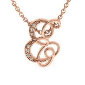 SuperJeweler E Initial Necklace in Rose Gold (2.2 g) w/ 7 Diamonds, , 18 Inch Chain by SuperJeweler