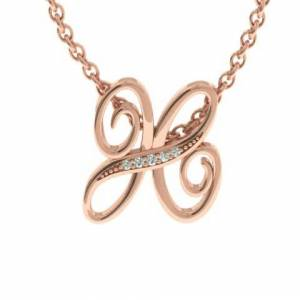 SuperJeweler H Initial Necklace in Rose Gold (2.2 g) w/ 5 Diamonds, , 18 Inch Chain by SuperJeweler