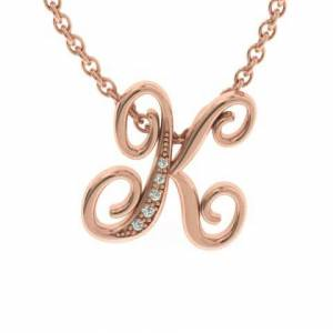 SuperJeweler K Initial Necklace in Rose Gold (2.2 g) w/ 5 Diamonds, , 18 Inch Chain by SuperJeweler