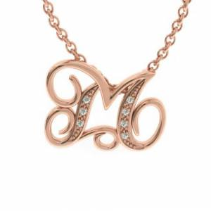 SuperJeweler M Initial Necklace in Rose Gold (2.2 g) w/ 7 Diamonds, , 18 Inch Chain by SuperJeweler