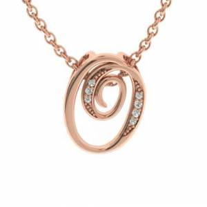 SuperJeweler O Initial Necklace in Rose Gold (2.2 g) w/ 7 Diamonds, , 18 Inch Chain by SuperJeweler