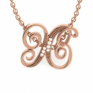 SuperJeweler X Initial Necklace in Rose Gold (2.2 g) w/ 7 Diamonds, , 18 Inch Chain by SuperJeweler