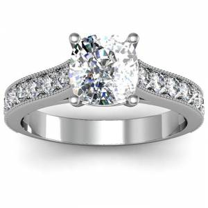 SuperJeweler 2.5 Carat Diamond Engagement Ring w/ 2 Carat Cushion Cut Center Diamond in 14K White Gold (4 g) (, I1-I2 Clarity Enhanced) by SuperJeweler