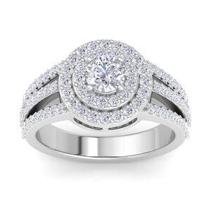 SuperJeweler 1 Carat Double Halo Diamond Engagement Ring in 14K White Gold (5.40 g) (, I1-I2 Clarity Enhanced) by SuperJeweler
