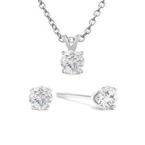 SuperJeweler 1/4 Carat Diamond Stud Earrings in White Gold w/ Free Matching Pendant (, ) by SuperJeweler