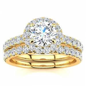 SuperJeweler 1.5 Carat Pave Halo Diamond Bridal Engagement Ring Set in 14k Yellow Gold (, SI2-I1) by SuperJeweler