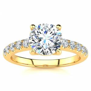 SuperJeweler 1 3/4 Carat Traditional Diamond Engagement Ring w/ 1.5 Carat Center Round Solitaire in 14K Gold (4.5 g) (, I1-I2 Clarity Enhanced) by SuperJeweler