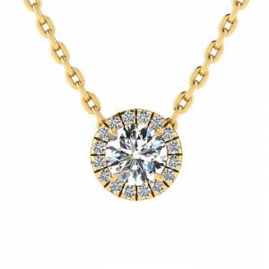 SuperJeweler 7/8 Carat Halo Diamond Necklace in 14K Yellow Gold (2.1 g), , 18 Inch Chain by SuperJeweler