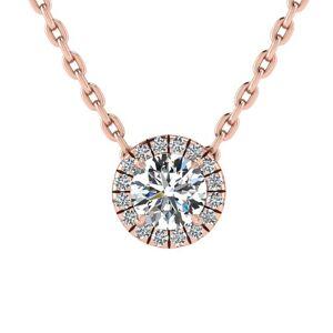 SuperJeweler 7/8 Carat Halo Diamond Necklace in 14K Rose Gold (2.1 g), , 18 Inch Chain by SuperJeweler