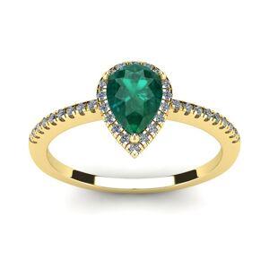 SuperJeweler 3/4 Carat Pear Shape Emerald Cut & Halo Diamond Ring in 14K Yellow Gold (2.6 g),  by SuperJeweler