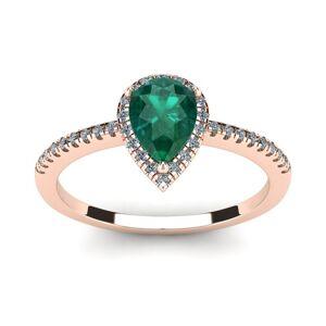 SuperJeweler 3/4 Carat Pear Shape Emerald Cut & Halo Diamond Ring in 14K Rose Gold (2.6 g),  by SuperJeweler