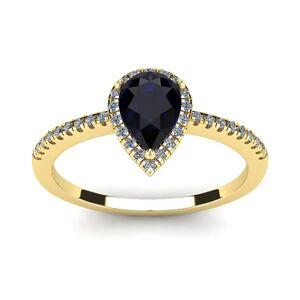 SuperJeweler 1 Carat Pear Shape Sapphire & Halo Diamond Ring in 14K Yellow Gold (2.6 g),  by SuperJeweler