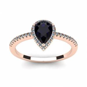 SuperJeweler 1 Carat Pear Shape Sapphire & Halo Diamond Ring in 14K Rose Gold (2.6 g),  by SuperJeweler