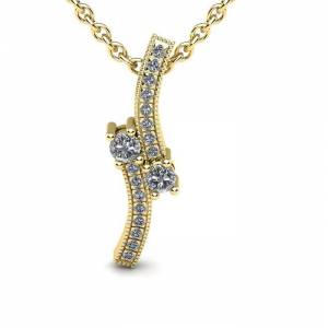SuperJeweler 1/3 Carat Two Stone Two Diamond Swirl Necklace in 14K Yellow Gold (1.5 g), , 18 Inch Chain by SuperJeweler