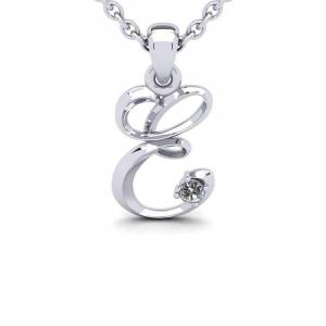SuperJeweler Diamond Accent E Swirly Initial Necklace in White Gold (1.8 g) w/ Free 18 Inch Cable Chain,  by SuperJeweler
