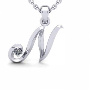 SuperJeweler Diamond Accent N Swirly Initial Necklace in White Gold (1.8 g) w/ Free 18 Inch Cable Chain,  by SuperJeweler
