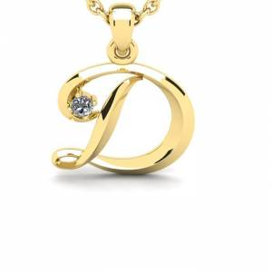 SuperJeweler Diamond Accent D  ColorSwirly Initial Necklace in Yellow Gold (1.8 g) w/ Free 18 Inch Cable Chain,  by SuperJeweler