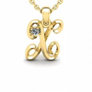 SuperJeweler Diamond Accent X Swirly Initial Necklace in Yellow Gold (1.8 g) w/ Free 18 Inch Cable Chain,  by SuperJeweler