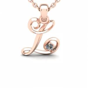 SuperJeweler Diamond Accent L Swirly Initial Necklace in Rose Gold (1.8 g) w/ Free 18 Inch Cable Chain,  by SuperJeweler