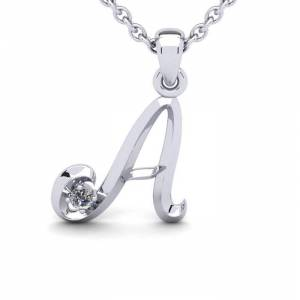 SuperJeweler Diamond Accent A Swirly Initial Necklace in 14K White Gold (2 g) w/ Free 18 Inch Cable Chain,  by SuperJeweler