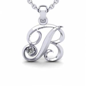 SuperJeweler Diamond Accent B Swirly Initial Necklace in 14K White Gold (2 g) w/ Free 18 Inch Cable Chain,  by SuperJeweler