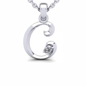 SuperJeweler Diamond Accent C Swirly Initial Necklace in 14K White Gold (2 g) w/ Free 18 Inch Cable Chain,  by SuperJeweler