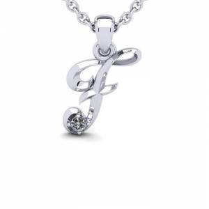 SuperJeweler Diamond Accent F Swirly Initial Necklace in 14K White Gold (2 g) w/ Free 18 Inch Cable Chain,  by SuperJeweler