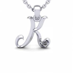 SuperJeweler Diamond Accent K Swirly Initial Necklace in 14K White Gold (2 g) w/ Free 18 Inch Cable Chain,  by SuperJeweler