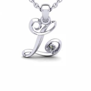 SuperJeweler Diamond Accent L Swirly Initial Necklace in 14K White Gold (2 g) w/ Free 18 Inch Cable Chain,  by SuperJeweler