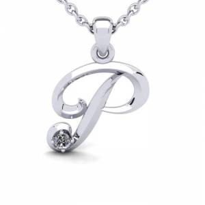 SuperJeweler Diamond Accent P Swirly Initial Necklace in 14K White Gold (2 g) w/ Free 18 Inch Cable Chain,  by SuperJeweler