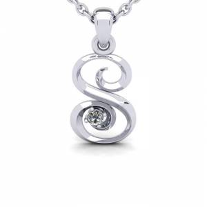 SuperJeweler Diamond Accent S Swirly Initial Necklace in 14K White Gold (2 g) w/ Free 18 Inch Cable Chain,  by SuperJeweler