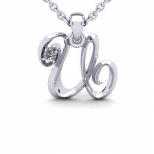 SuperJeweler Diamond Accent U Swirly Initial Necklace in 14K White Gold (2 g) w/ Free 18 Inch Cable Chain,  by SuperJeweler