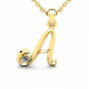 SuperJeweler Diamond Accent A Swirly Initial Necklace in 14K Yellow Gold (2 g) w/ Free 18 Inch Cable Chain,  by SuperJeweler