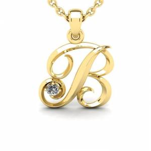 SuperJeweler Diamond Accent B Swirly Initial Necklace in 14K Yellow Gold (2 g) w/ Free 18 Inch Cable Chain,  by SuperJeweler