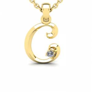 SuperJeweler Diamond Accent C Swirly Initial Necklace in 14K Yellow Gold (2 g) w/ Free 18 Inch Cable Chain,  by SuperJeweler