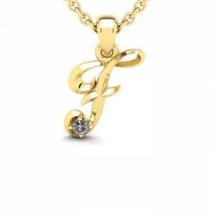 SuperJeweler Diamond Accent F Swirly Initial Necklace in 14K Yellow Gold (2 g) w/ Free 18 Inch Cable Chain,  by SuperJeweler