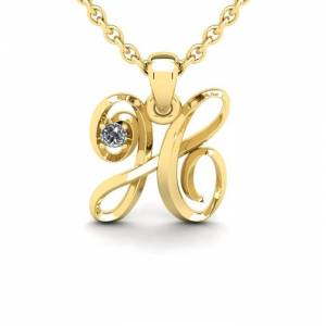 SuperJeweler Diamond Accent H Swirly Initial Necklace in 14K Yellow Gold (2 g) w/ Free 18 Inch Cable Chain,  by SuperJeweler