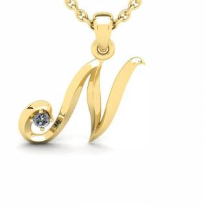 SuperJeweler Diamond Accent N Swirly Initial Necklace in 14K Yellow Gold (2 g) w/ Free 18 Inch Cable Chain,  by SuperJeweler