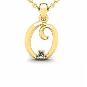 SuperJeweler Diamond Accent O Swirly Initial Necklace in 14K Yellow Gold (2 g) w/ Free 18 Inch Cable Chain,  by SuperJeweler