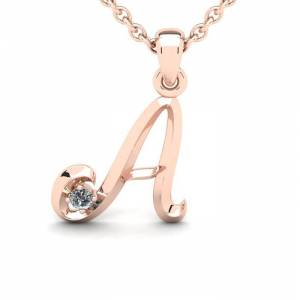 SuperJeweler Diamond Accent A Swirly Initial Necklace in 14K Rose Gold (2 g) w/ Free 18 Inch Cable Chain,  by SuperJeweler