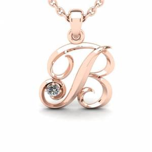 SuperJeweler Diamond Accent B Swirly Initial Necklace in 14K Rose Gold (2 g) w/ Free 18 Inch Cable Chain,  by SuperJeweler