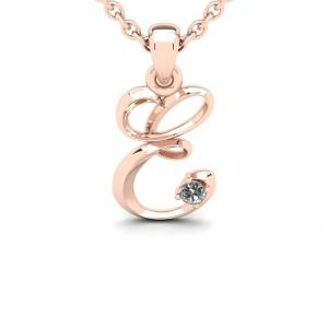 SuperJeweler Diamond Accent E Swirly Initial Necklace in 14K Rose Gold (2 g) w/ Free 18 Inch Cable Chain,  by SuperJeweler