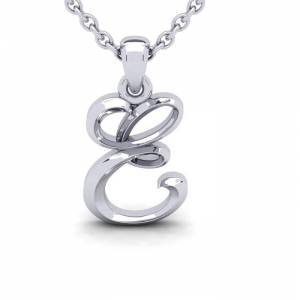 SuperJeweler E Swirly Initial Necklace in Heavy White Gold (2.1 g) w/ Free 18 Inch Cable Chain by SuperJeweler