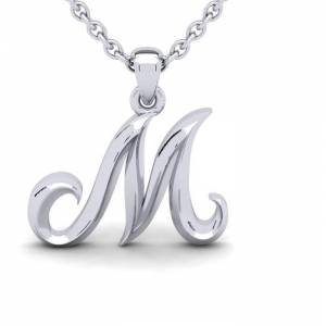 SuperJeweler M Swirly Initial Necklace in Heavy White Gold (2.1 g) w/ Free 18 Inch Cable Chain by SuperJeweler