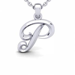 SuperJeweler P Swirly Initial Necklace in Heavy White Gold (2.1 g) w/ Free 18 Inch Cable Chain by SuperJeweler