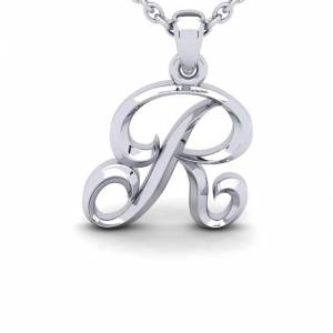 SuperJeweler R Swirly Initial Necklace in Heavy White Gold (2.1 g) w/ Free 18 Inch Cable Chain by SuperJeweler