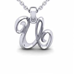 SuperJeweler U Swirly Initial Necklace in Heavy White Gold (2.1 g) w/ Free 18 Inch Cable Chain by SuperJeweler